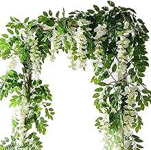 2 stks 1.8m Wisteria kunstbloem wijnstok krans bruiloft boog decoratie nep plant blad rotan trailing nep bloem klimop muur...