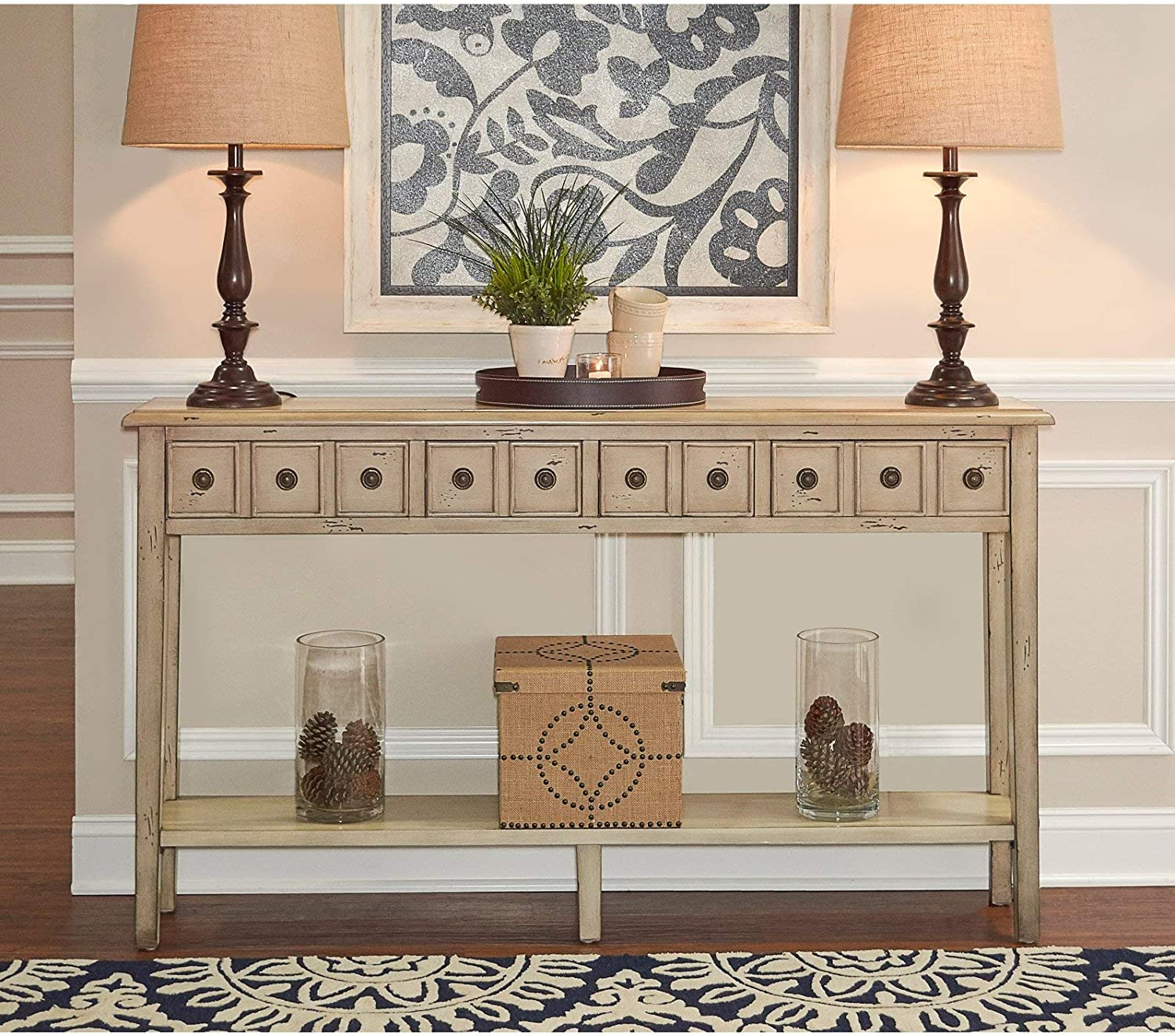 Powell Furniture Sadie Long Console Table, Teal (.Cream)