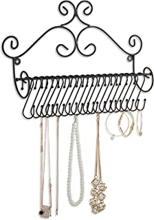 MyGift Wall Mounted Metal Jewelry Hanger Organizer Rack with 18 Removable Hooks and Scrollwork Design, Black