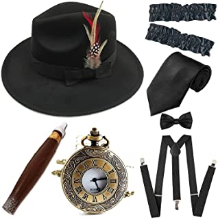 1920s Trilby Manhattan Fedora Hat, Plastic Cigar/Gangster Armbands/Pocket Watch,Suspenders,Pre Tied Bow Tie,Tie
