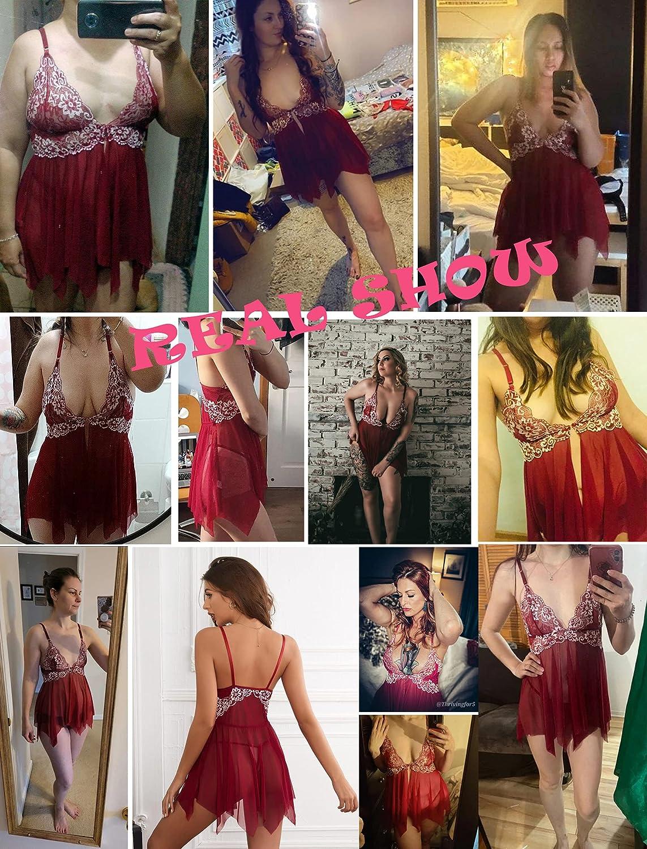 Avidlove Women Lace Lingerie Front Closure Babydoll V Neck Nightwear Sexy Chemise Nightie