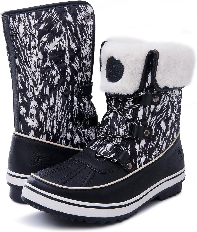 GLOBALWIN Women's 1632 Black Grey Snow Boots (6.5(M) US Women, 1706Black Print)