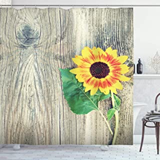 Ambesonne Sunflower Shower Curtain, Sunflower on Wooden Old Board Bouquet Floral Mother Earth Photo, Cloth Fabric Bathroom Decor Set with Hooks, 70