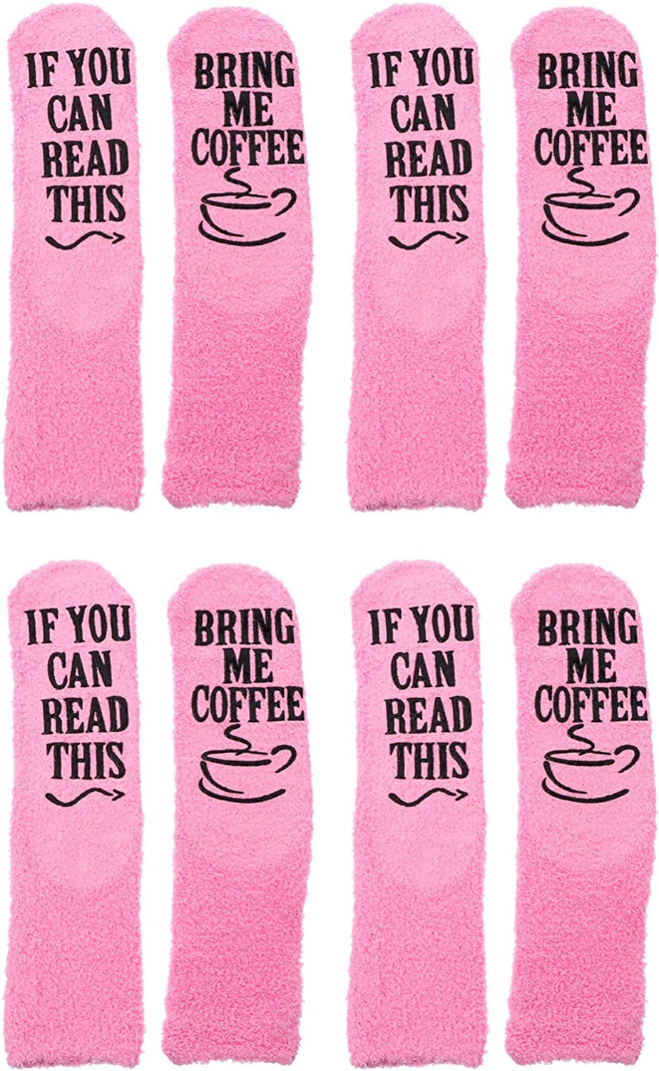IMIKEYA 4 Pairs Funny Quantity limited Plush Selling rankings Slipper P Socks English Letters with
