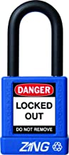 "ZING 7032 RecycLock Safety Padlock, Keyed Different, 1-1/2"" Shackle, 1-3/4"" Body, Blue"