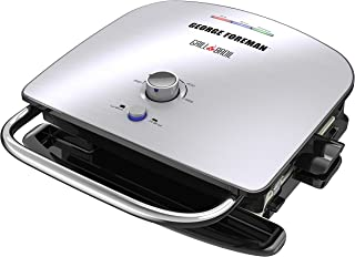 George Foreman GBR5750SSQ Grill & Broil 7-in-1 Electric Indoor Grill, Broiler, Panini Press, and Waffle Maker, Removable Plates, Silver