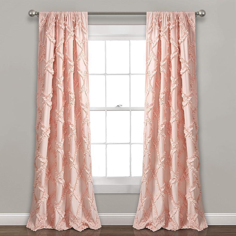 "Lush Decor Ruffle Diamond Curtains Textured Window Panel Set for Living, Dining Room, Bedroom (Pair), 84"" x 54"", Blush"