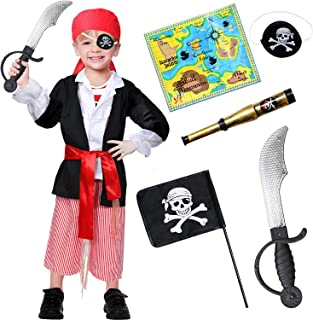 9 PCS Pirate Costume Kids Role Play Dress up Accessories Set for Boys Black