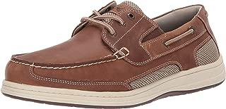 Dockers 男士 Beacon 皮革休闲经典船鞋 NeverWet 棕褐色/灰褐色