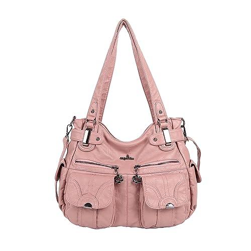 53d3bde5e2e Angelkiss Women s Handbag Large Double Zipper Multi Pocket Washed Shoulder  bag Designer Handbags for Women