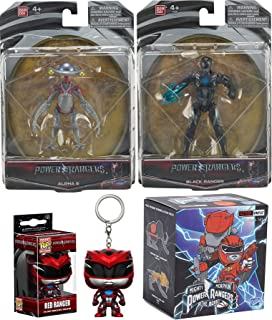 Power Rangers Robot Black Movie Action Saban's Action Figures + Pocket Pop! Red Kecyhain & Exclusive Loyal Vinyls Blind Box Character Figure 4-Pack Black Hero with Power Sword & Alpha 5 Assistant