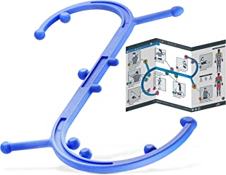 Body Back Buddy Trigger Point Back Massager with Poster - 11 Knobs, 3 Shapes, Full Body Muscle Pain Relief - Handheld Massage Stick, Massage Cane (Blue)