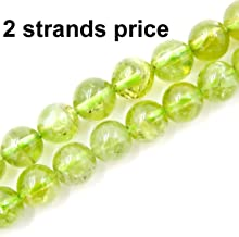 Precious Gemstone Beads for Jewelry Making, 100% Natural AAA Grade, Sold per Bag 2 Strands Inside (Peridot, 4mm)