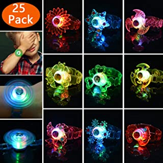 Mikulala Glow in The Dark Birthday Party Favors for Kids Prizes Box Toys for Classroom 25 Pack Light Up Toys Hand Spin Stress Relief Anxiety Toys Bulk Fidget Toys Boys Girls LED Neon Party Supplies