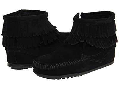 Minnetonka Kids Side Zip Double Fringe (Toddler/Little Kid/Big Kid) (Black Suede) Girls Shoes