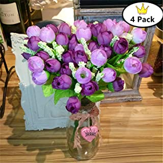 S.Ena, 5 Branch 15 Heads Artificial Silk Fake Flowers Leaf Finger Rose Wedding Floral Home Decor Bouquet Birthday Party DIY, Pack of 4 (Purple + Light Purple)