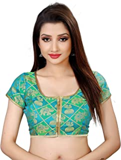 Ocean Fashion Women's Brocade and Georgette Stitched Saree Blouse (Green; XX-Large)