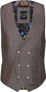 Xposed Mens Linen Blazer Cotton Blend Retro Vintage Smart Waistcoat[UWC-XPC8-6-BROWN-48,Earth Brown, UK/US 48 EU 58]