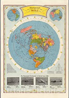 Historic Map - Atlas Map Map, Air age map of the world, 1948 - Vintage Wall Art - 44in x 63in
