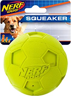 Nerf Dog Soccer Squeak Ball Dog Toy, Medium, Green