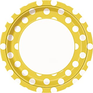 "Yellow Polka Dot Plates 9"""