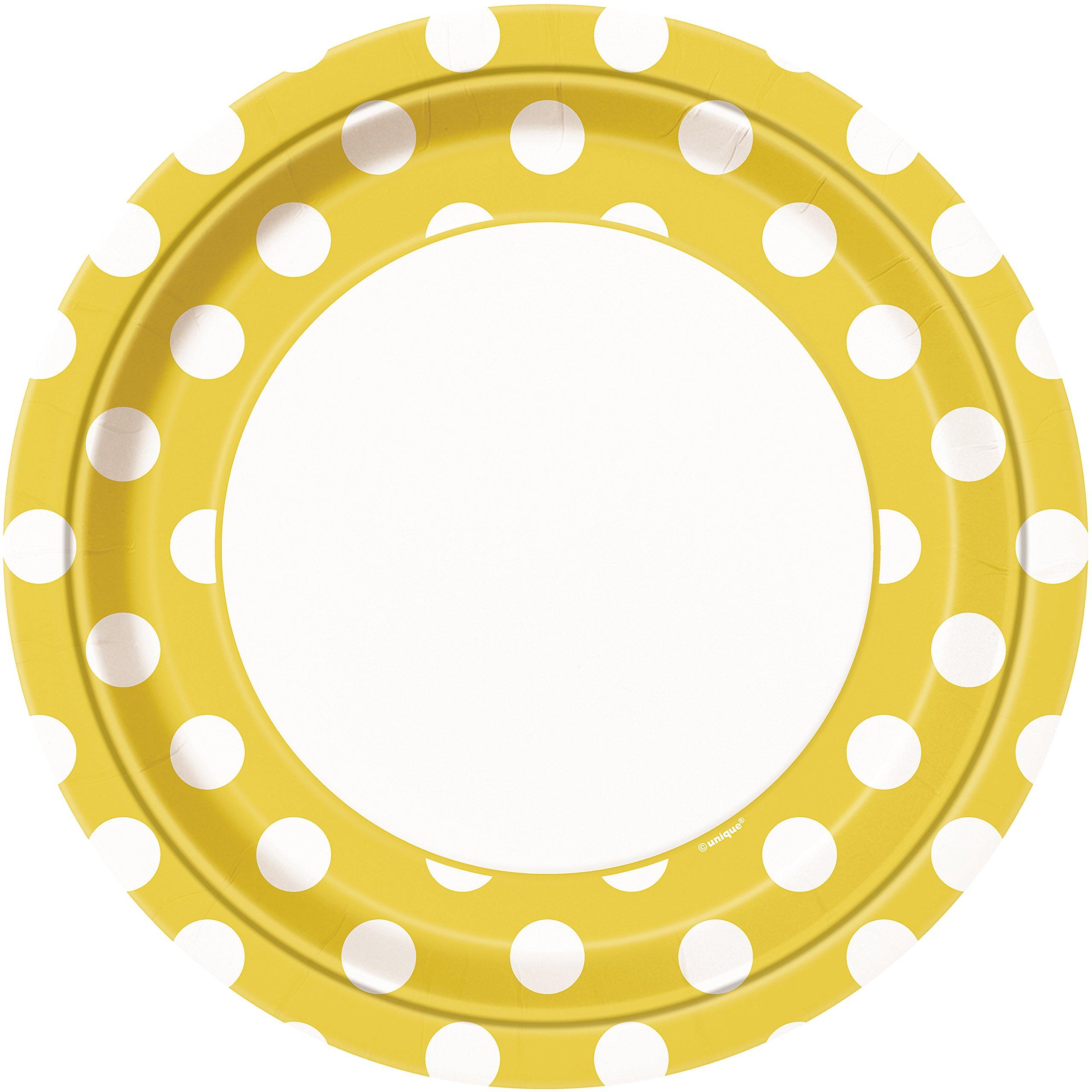 Unique Industries, Polka Dot Paper Plates, 8 Pieces - Yellow