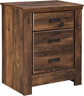 Ashley Furniture Signature Design - Quinden Nightstand with 2 USB Charging Ports - 2 Drawers - Vintage Casual - Dark Brown
