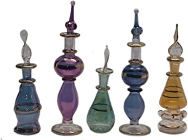 Set of 50 Mouth Blown Egyptian Perfume Bottles Glass Height (4i Inch & 5 Inch)
