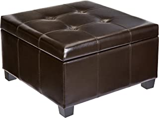 First Hill Damara Square-Shaped Large Faux-Leather Storage Ottoman - Bittersweet Chocolate