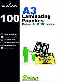 Pavo Boîte de 100 Pochettes de plastification à chaud brillante 2 x 125 microns A3 Transparent