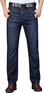 SellerFun Men Mid Waist Standard Fit Full Length Light Washed Summer Casual Denim Trousers Pants Jeans