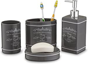 Home Basics Paris Collection 4 Piece Bathroom Accessories Set, Bath Set Features Soap Dispenser, Toothbrush Holder, Tumbler, Soap Dish With Stylish Accent Decor To Complement Any Bathroom Gray/Slate