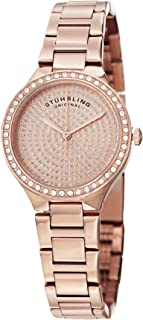 Stuhrling Original Women's Quartz Watch With Rose Gold Dial Analogue Display and Rose Gold Stainless Steel Bracelet 683.04, Rose Gold Band