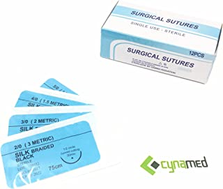 CynaMed Suture Thread with Needle (12-Pack) - Training Sutures Pkg. of 12 - 'Black' Threads (12, 3/0, 25mm Blade, 1/2 Reverse Cutting)