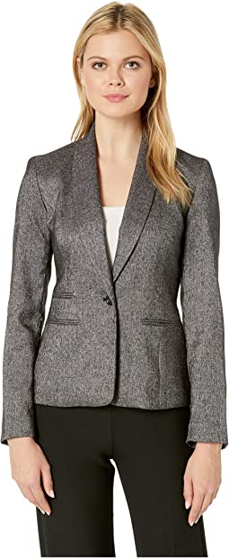 One-Button Shawl Collar Tweed Jacket