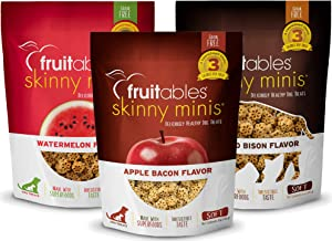 product image for Fruitables Soft and Chewy Skinny Minis 5 Ounce Grain Free Training Treats, Variety Pack of 3: Grilled Bison, Watermelon, Apple Bacon