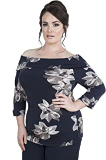 Emily London Womens Plus Size Hannah Fitted Bardot Off Shoulder Top Black