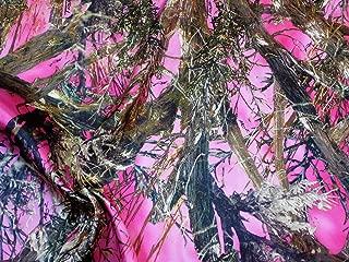 pink satin camo fabric