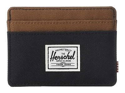 Herschel Supply Co. Charlie RFID (Black/Saddle Brown) Wallet Handbags