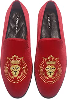 Men's Velvet Dress Loafers Penny Wedding Party Prom Shoes of Gold Tiger Head 1 and 2 Embroidery Shoes