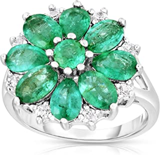 Femme Luxe Lily Natural Zambian Emerald Statement Ring for Women, 925 Sterling Silver, Hypoallergenic, Gift Ready Jewelry