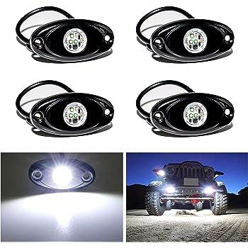 YONEDA LED Rock Lights 4PODS Waterproof LED Neon Underglow Light for Car Truck ATV UTV SUV Jeep Offroad Boat Underbody Glow Trail Rig Lamp (White)