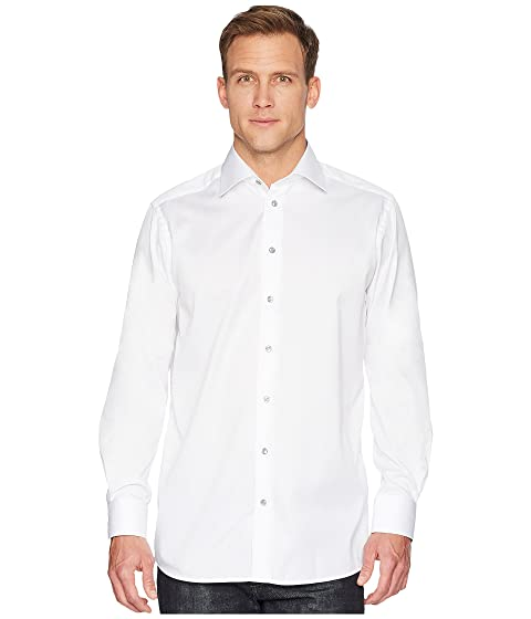 Eton Contemporary Fit Twill Shirt w/ Grey Button