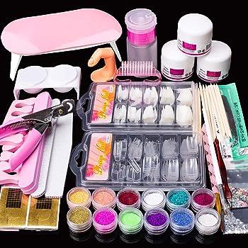 Acrylic Nail Kit Set, Acrylic powder Shiny Glitter Nail Art Decoration Professional DIY Gel Nail Kit Manicure Set with Nail Dryers