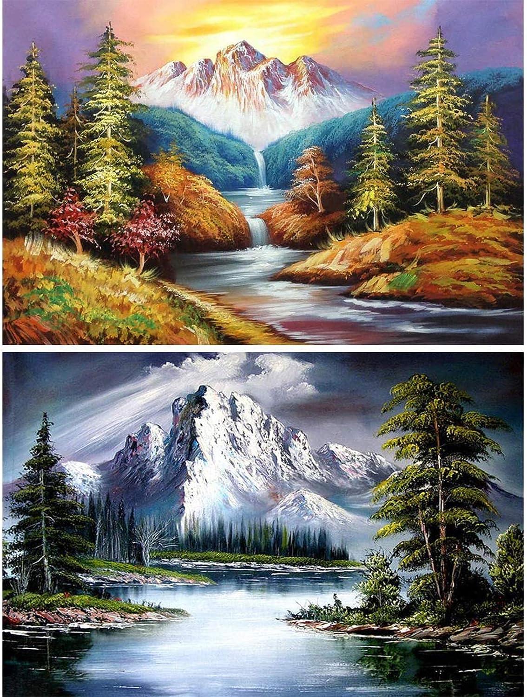 2 Pack 5D Cheap sale Full Drill Diamond Scenery Painting Topics on TV DIY Kit KISSBUTY