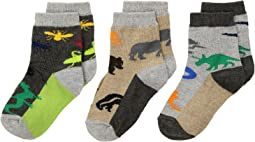 Jefferies Socks - Land Animal Crew 3-Pack (Infant/Toddler/Little Kid)