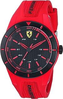 Ferrari Men's RedRev Stainless Steel Quartz Watch with Rubber Strap, red, 20 (Model: 840005