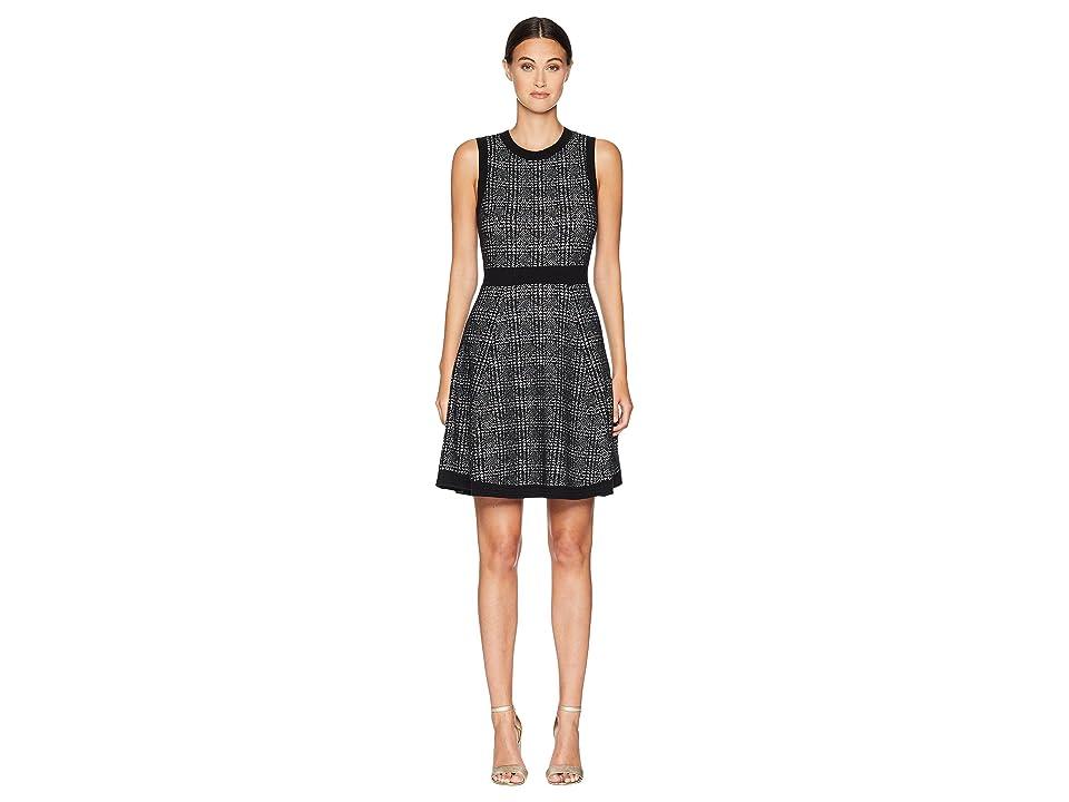 Kate Spade New York Out West Mod Plaid Sweater Dress (Black) Women