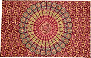 Nidhi Blue and orange Twin Size mandala Tapestry, Wall Hanging, Picnic Blanket, Beach Mat, Bedcover, sofa throw, stetains,...