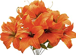 Phoenix Silk Tiger Lily Bush Satin 11 Artificial Flowers 19